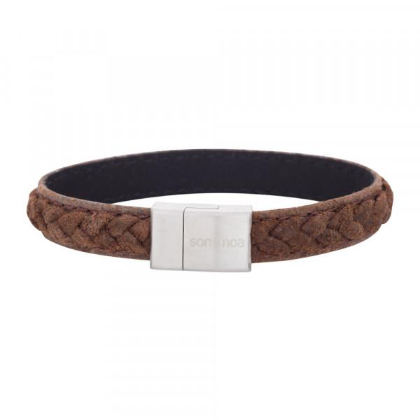 SON of NOA Herren-Armband Armband braunes Kalbsleder 23cm