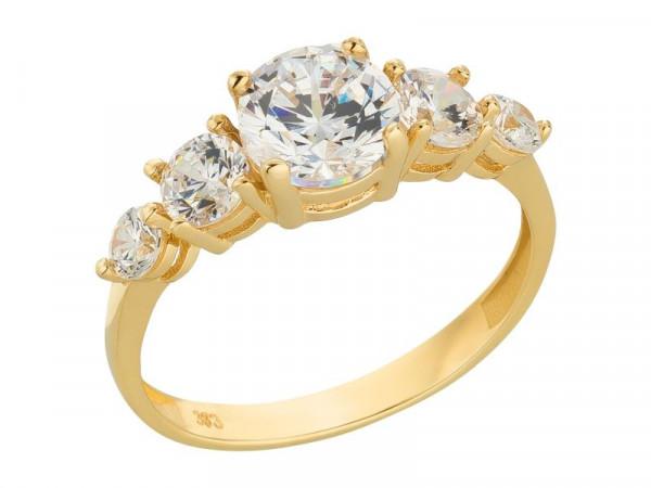 Damen-Ring, DALINO 333 Gold mit Zirkonia-Steinen