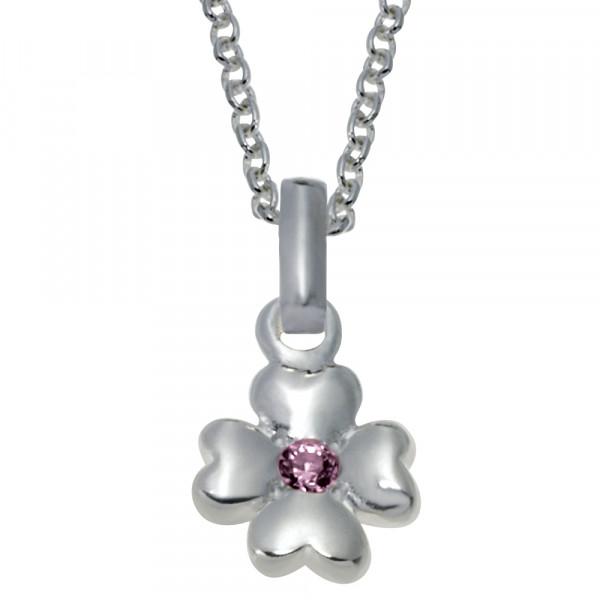 Kinderhalskette Rhodinierte Silber Halskette Blume rosa Zirkonia