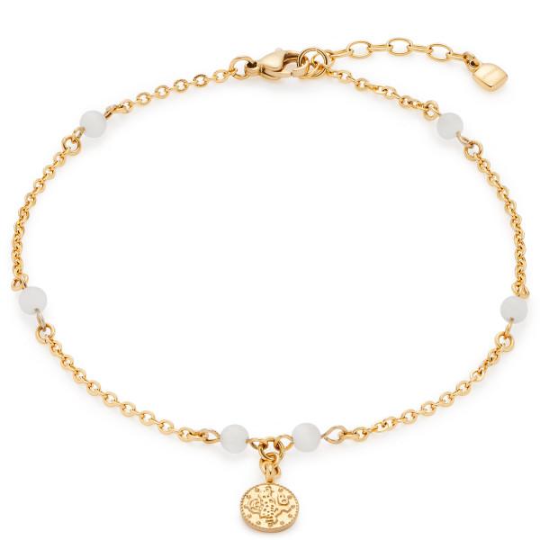 Damen-Fußkette, CIAO! BY LEONARDO EDELSTAHL goldfarben Cat's Eye Perlen 28 cm verstellbar Farina