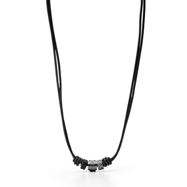 Fossil Halskette Herren Leder mit Rondeln