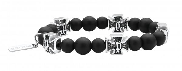 Herren-Armband, POLICE Edelstahl schwarz mit Steinperlen Carb