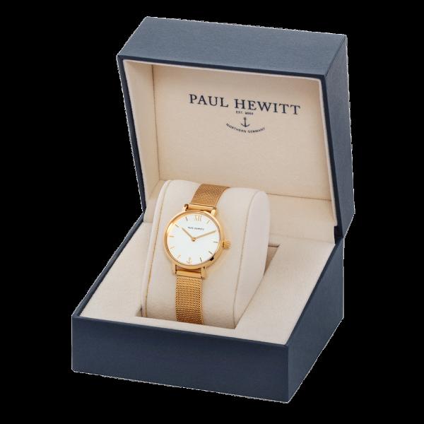 Paul Hewitt Uhr Damen Modest White Sand Gold Mesh
