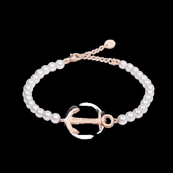 PAUL HEPAUL HEWITT Damen Armband Anchor Spirit In Roségold mit weißen Perlen