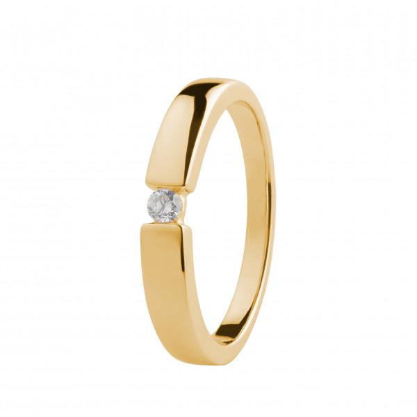 Damen-Ring, DALINO 375 Gold Spannfassung Solitär Ring mit 0,07 ct Diamant