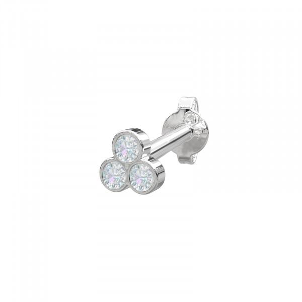 Rhd. Silber Ohrring PIERCE52 3 Steine