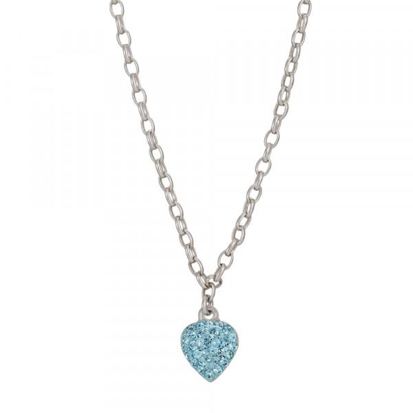 Kinderhalskette Silber Halskette Herz mit hellblauem Zirkonia
