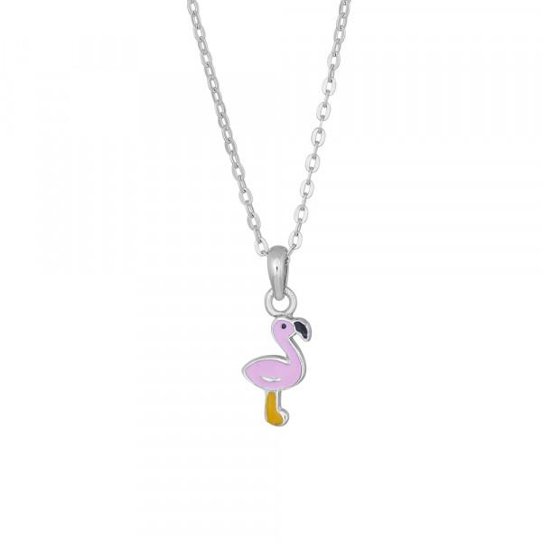 Kinder-Halskette Rhod. Silber rosa Flamingo
