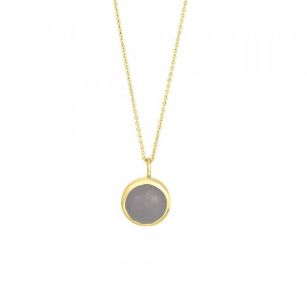 Vergoldet Halskette SWEETS Grauer Mondstein 11mm