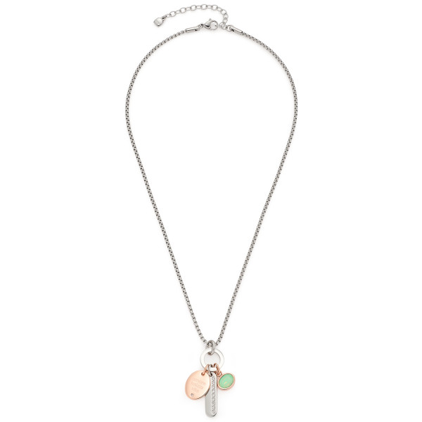 Damen-Halskette, LEONARDO Edelstahl teils rosegolden Glaskristalle Anhänger-Trio mit Gravur 42cm Lea