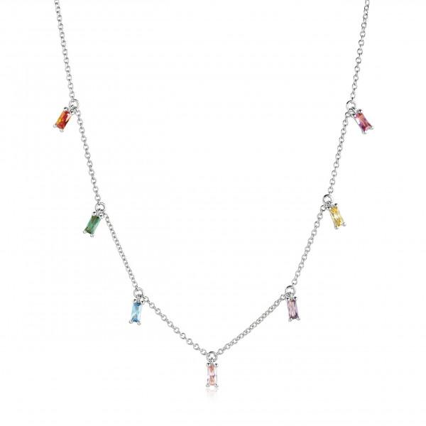 Sif Jakobs Damen Halskette Princess Baguette 925er Silber mit bunten Zirkonia