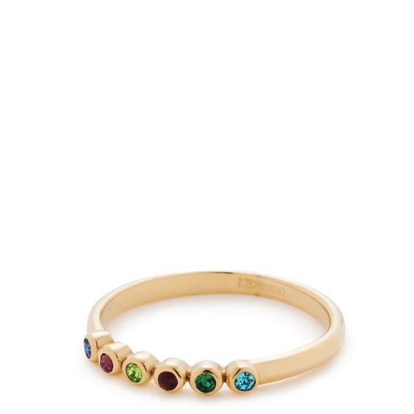 Damen-Ring, CIAO! BY LEONARDOdelstahl goldfarbene IP-Beschichtung Schliffkristalle 20/2/20mm Adea