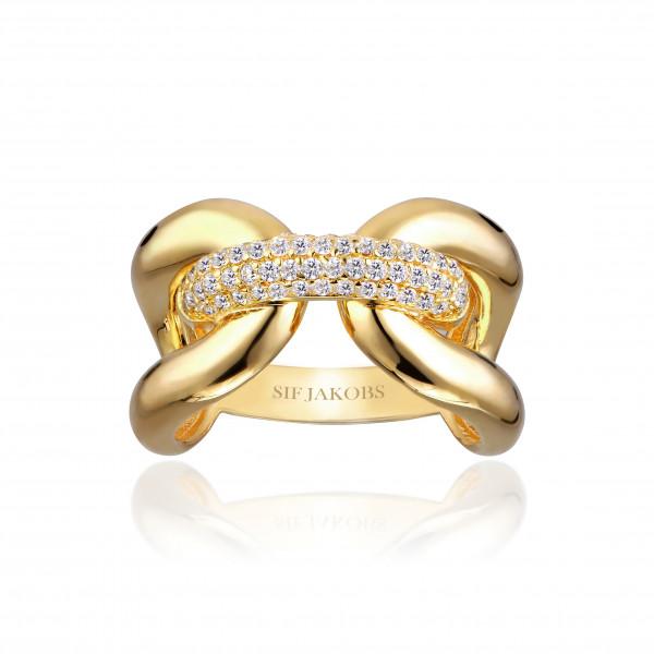 Sif Jakobs Damen Ring Capri Tre 18K vergoldet mit weissen Zirkonia