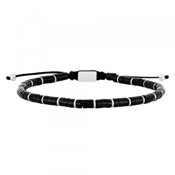 SON Herrenarmband matt schwarzer Onyx 19-25cm
