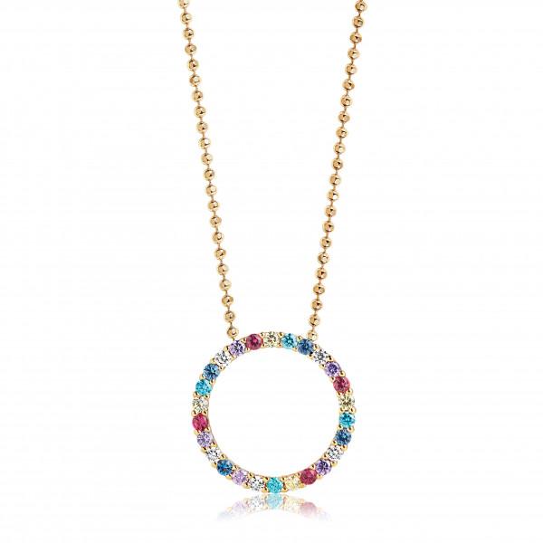 Sif Jakobs Damen Halskette Biella 18K vergoldet mit Bunten Zirkonia