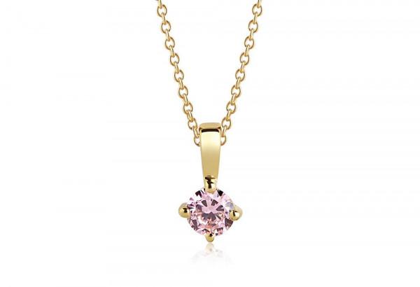 Sif Jakobs Damen Halskette Princess Round18K vergoldet mit rosa Zirkonia