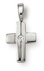 Kreuzanhänger 925 Silber Zirkomia weiss 11mm
