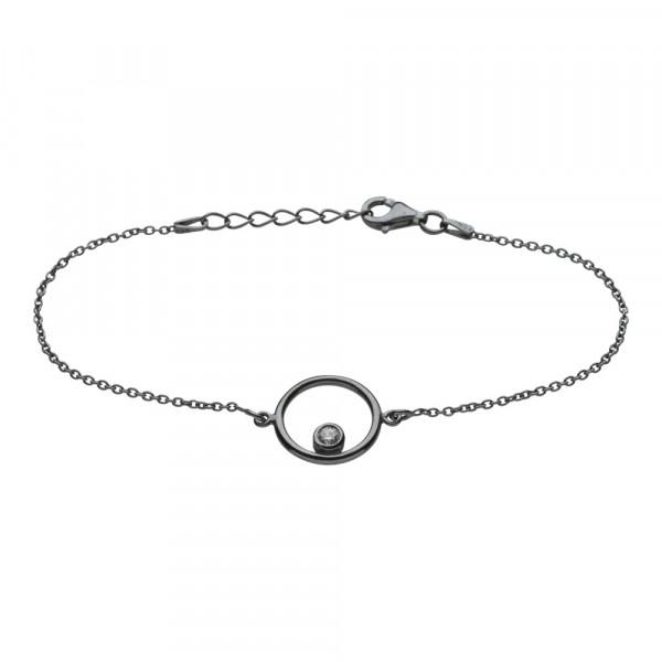 Oxidiertes Silber Armband Kreis 14mm mit Zirkonia