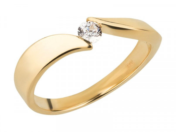 Damen-Ring, DALINO 333 Goldring Spannfassung mit Zirkonia