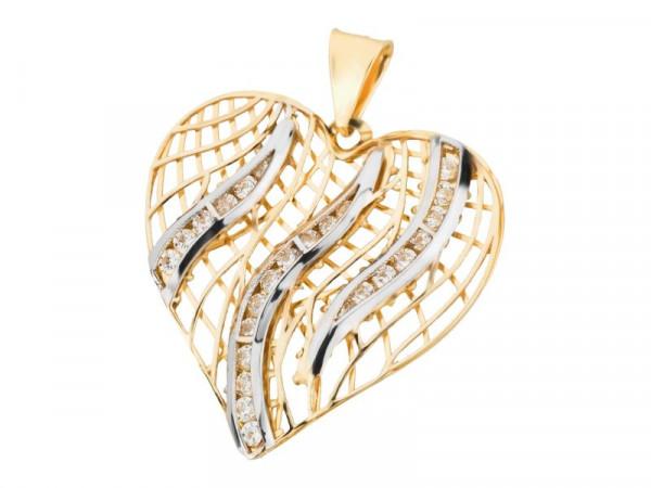 Anhänger Herz aus 333 Gold bicolor mit Zirkonia