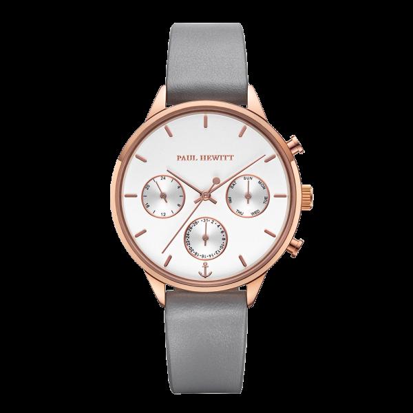 Paul Hewitt Uhr Damen Everpulse White Sand Roségold Leder Graphite