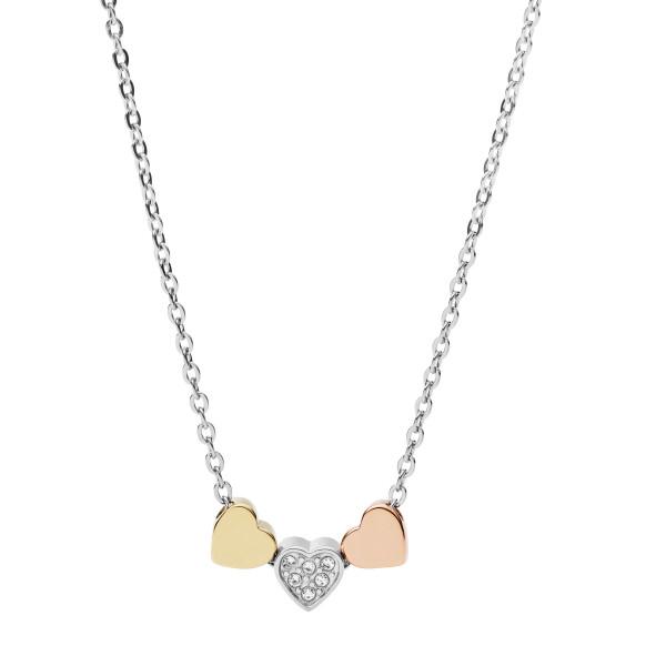 Fossil Halskette Damen Herzanhänger Trio Bicolor