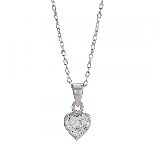 Kinderhalskette Rhd. silber Halskette 38+2cm mit Herzanhänger