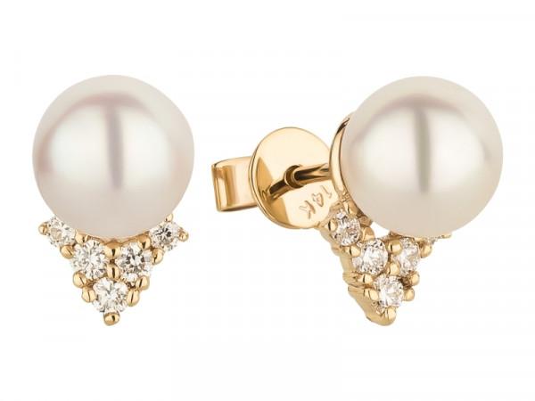 Damen-Ohrringe, DALINO 585 Gold Ohrstecker Akoya-Perlen mit 0,16 ct Diamanten