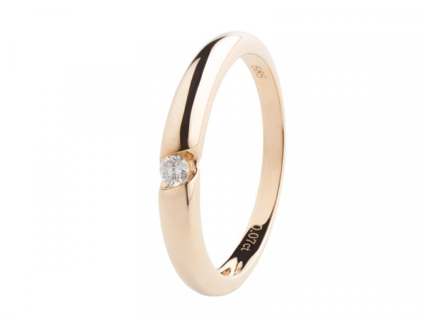 Damen Ring, DALINO 585 Gold Solitär Ring mit 0,07 ct Diamant