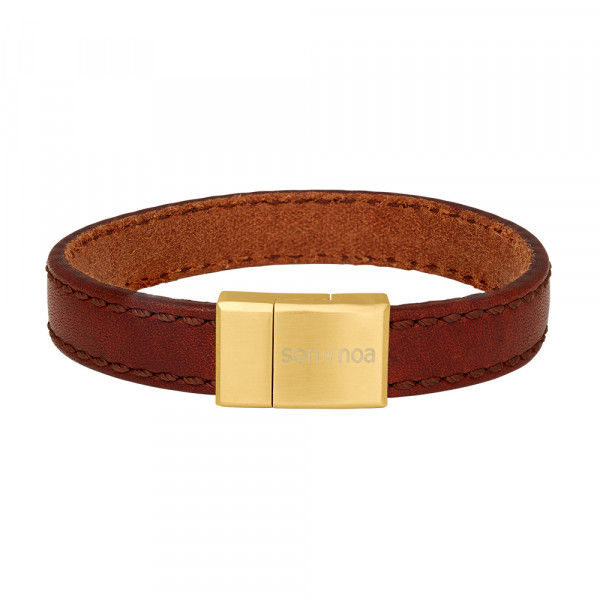 SON of NOA Herren-Armband Arrmband braunes Kalbsleder