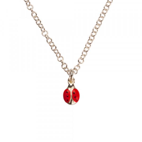 Silber Halskette Marienkäfer mit Emaille