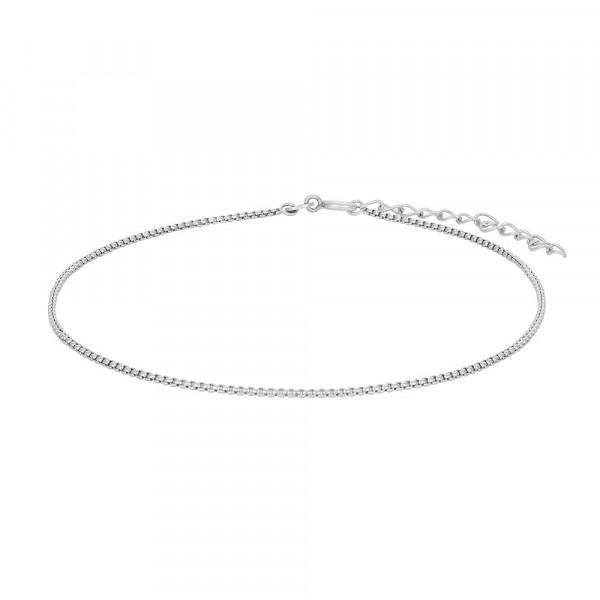 Rhodinierte Silber Fusskette SUMMER 23+4cm