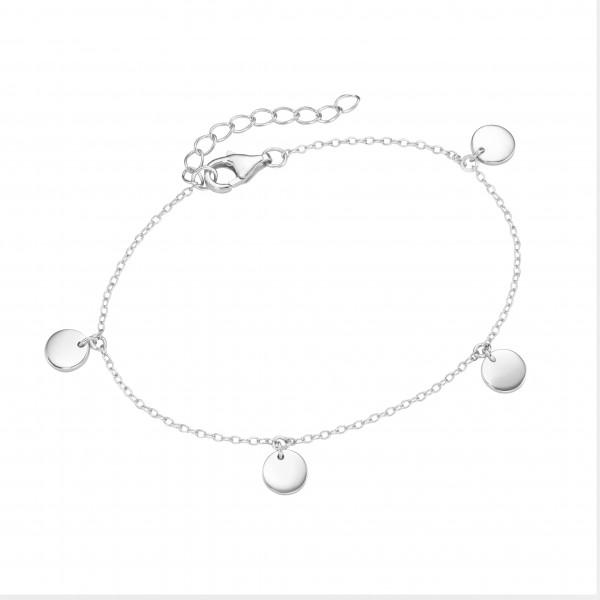 Da-lino Damen Armband in 925 Silber mit Plättchen Anhänger