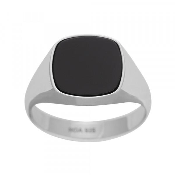SON of NOA Herren-Ring Ring Silber rhod. mit schwarzem Onyx