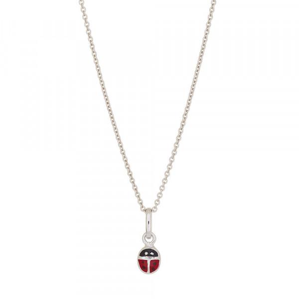 Kinder-Halskette Rhodinierter Silber Anhänger Marienkäfer