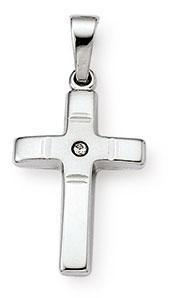 Kreuzanhänger 925 Silber Zirkonia weiss 18mm