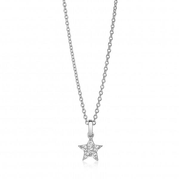 Sif Jakobs Damen Halskette Mira Stern 925er Silber mit weißen Zirkonia