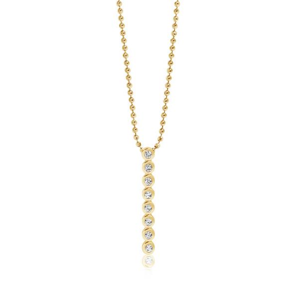 Sif Jakobs Damen Halskette Sardinien Otto Pendant 18K vergoldet mit weissen Zirkonia