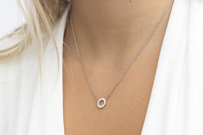 Sif Jakobs Damen Halskette Biella Piccolo 925er Silber mit weißen Zirkonia