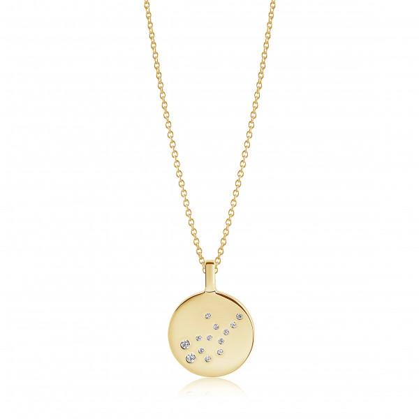 Sif Jakobs Damen Halskette Jungfrau Sternzeichen Zodiaco 18K vergoldet mit weißen Zirkonia