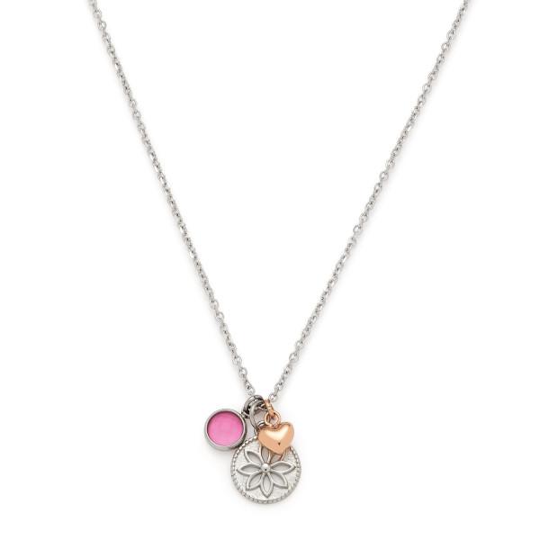 Damen-Halskette, LEONARDO Edelstahl teils rosegoldfarbene IP-Beschichtung Glassteinchen 40cm Florido