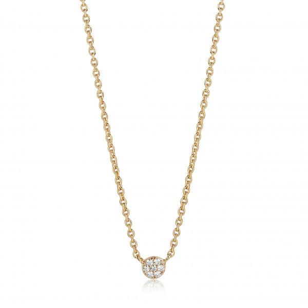 Sif Jakobs Damen Halskette Cecina 18K vergoldet mit weißen Zirkonia