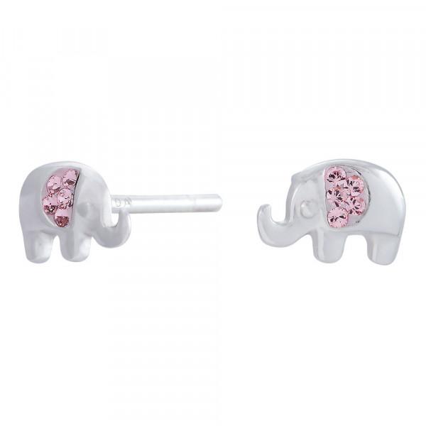 Kinder-Ohrstecker, NOA KIDS JEWELLERY silber rhod. Elefant mit rosa Zirkonia