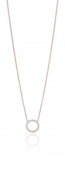 Sif Jakobs Damen Halskette Biella Grande 18K rosévergoldet mit weissen Zirkonia