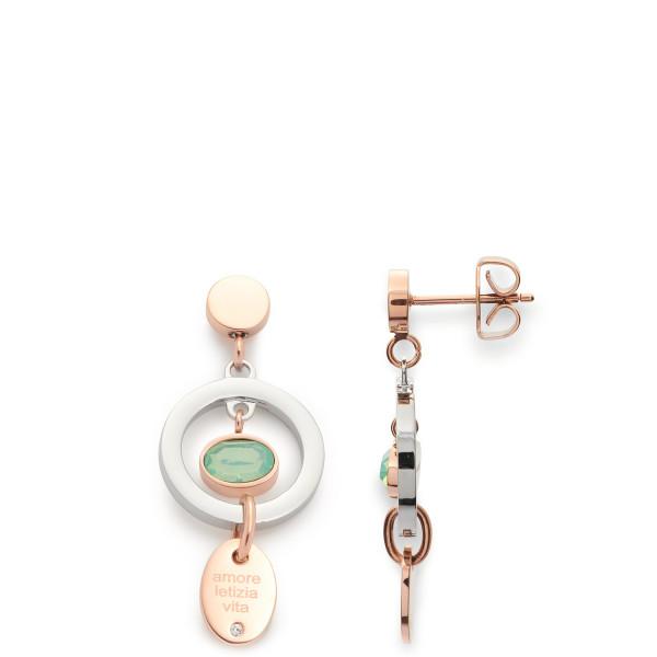 Damen-Ohrring Ohrstecker, LEONARDO Edelstahl teils rosegoldfarben Glaskristall Anhänger 14/33/13 mm
