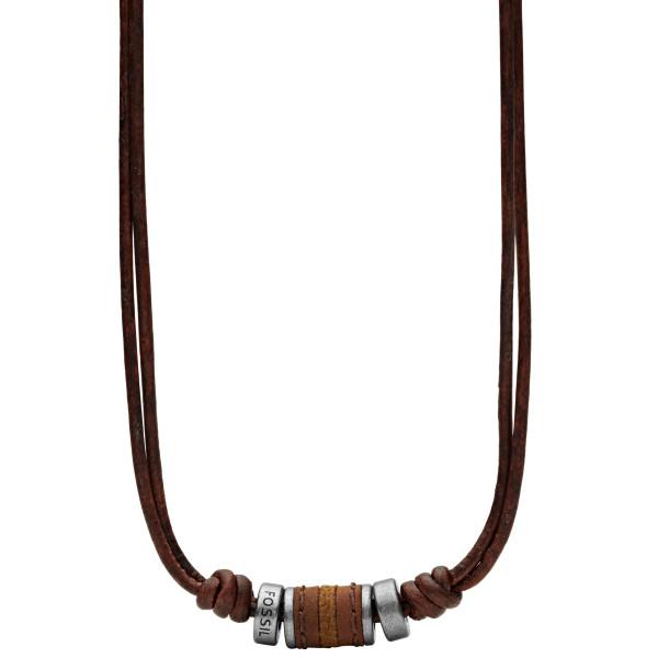 Fossil Halskette Herren Rondell mit braunen Lederband