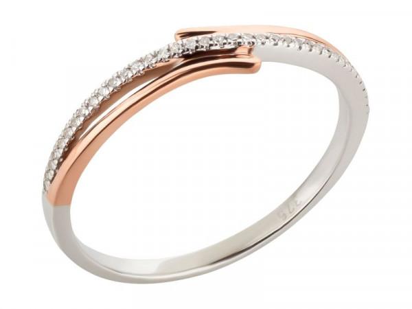 Goldring aus 375 Gold bicolor 0,05 ct Diamanten