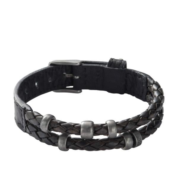 Fossil Herren Armband Leder Schwarz