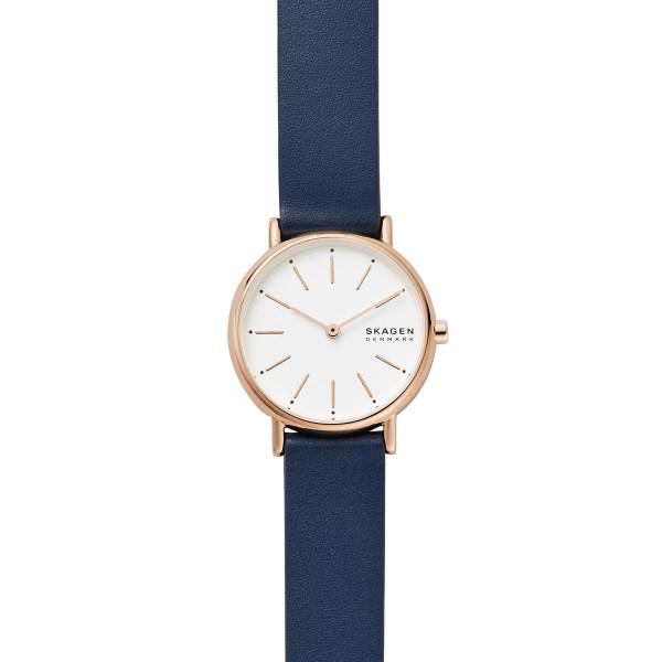 Skagen Uhr Damen Signatur 2-Zeiger-Werk Leder blau