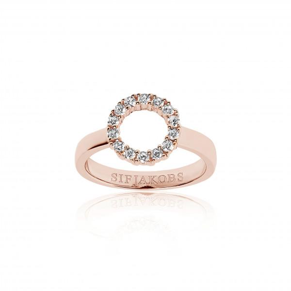 Sif Jakobs Damen Ring Biella Piccolo 18k rosé vergoldet mit weissen Zirkonia